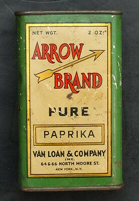 ANTIQUE Vintage ARROW BRAND Van Loan PAPRIKA Advertising SPICE TIN / NEW YORK