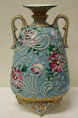 Antique Early 1900's Hand Painted Porcelain Vase w/ Raised Applied Overlay! WOW!