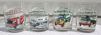 Set of 4 Vintage Hess Truck Glasses 1996 Classic Truck Series