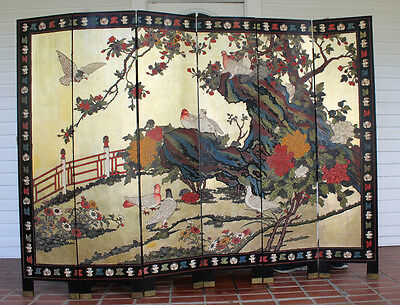 Antique Chinese Carved Painted Screen Room Divider Extra Large 6 Panel 2 Sided