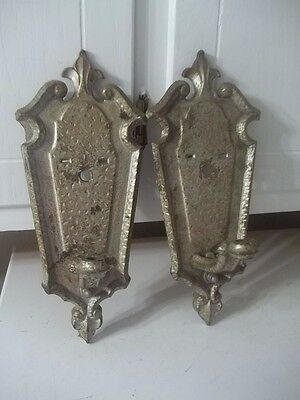 Antique Signed Moe Bridges Cast Iron Sconce Wall Light Set For Repair