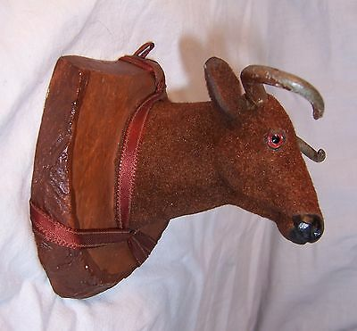 Vintage Cow CATTLE STEER BULL wall mount flocked head  plaster plaque 4.25""