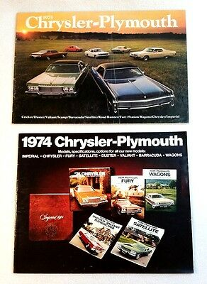 Original 1973 & 1974 Chrysler Plymouth Dealer Sales Brochures Cuda Fury Wagons++