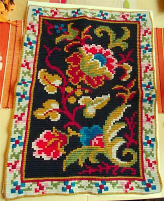 Swedish large wool-embroidered sampler, colorful traditional flower gourd design