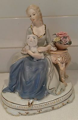 Antique Vintage Porcelain Girl with dogs Figurine