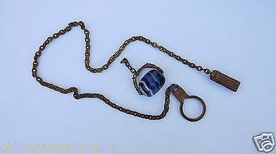 ANTIQUE VICTORIAN Spinner Blue Banded Agate Watch Fob & Chain