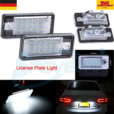 2x LED LICENSE NUMBER PLATE LIGHT LICENCIA DE LED para Audi A3 A4 A6 A8 S6 B6 Q7