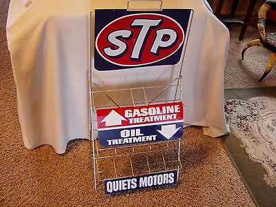 Rare Vintage 1960's Stp Motor Oil Treatment Advertising Sign Wire Can Rack