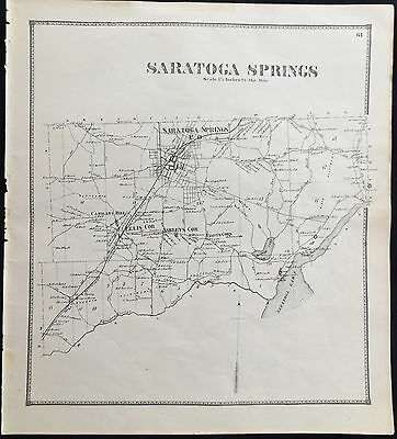 "1866 Saratoga County NY ""Town of Saratoga Springs""  Carrigans  Antique Map Atlas"
