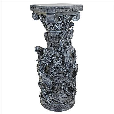 """32"""" Medieval Fortress Keepers Guardian Gothic Dragons Celtic Pedestal Column"""