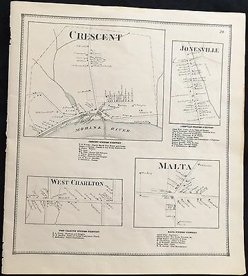 1866 Saratoga County NY Crescent Malta Jonesville Wst Charlton Antique Map Atlas