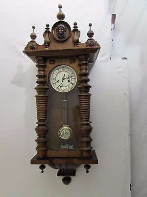 Antique Walnut Vienna *GB* Silesia Movement Wall Clock Great Working Order 31Day