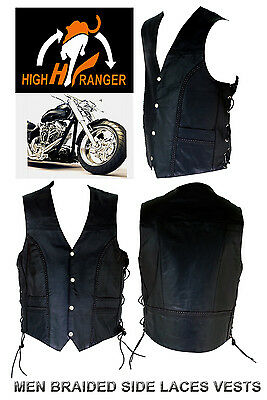 HighRanger Men Motorbike Special Braided Leather Vests With Side Laces