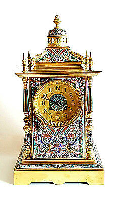 Gorgeous 19C French Gilt Bronze Champleve Enamel Mantel Clock