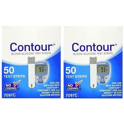 NEW Bayer Contour Diabetic Test Strips 50ct 2-Pack for Blood Glucose Meters