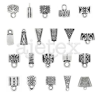 3-400pcs Slider Spacer Delicate Bail Connector Tibetan Silver Jewelry Finding
