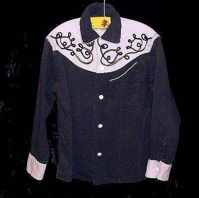 KAYNEE Boy's Vintage 1950's Collectible Cotton Cowboy Western Shirt Size 6