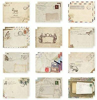 Set of 12 Vintage Mini / Small European Style Airmail Envelope for Greeting Card