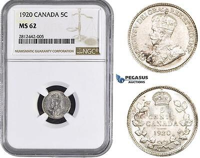 AA041, Canada, George V, 5 Cents 1920, Silver, NGC MS62