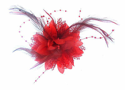 Red fascinator/corsage dual purpose wear in your hair or on your jacket ,races