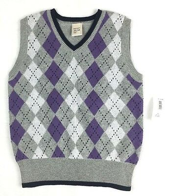 OLD NAVY Toddler Boys Gray Purple Black Pull Over Sweater Vest Size 3T NWT
