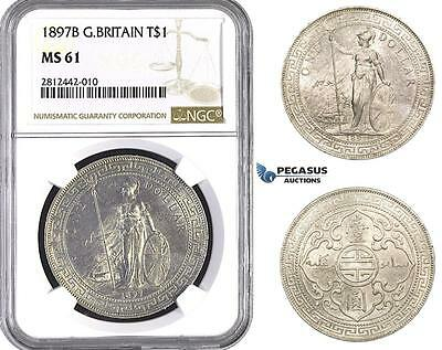 AA052 Great Britain, Trade Dollar 1897-B, Bombay (Not vissible) Silver, NGC MS61