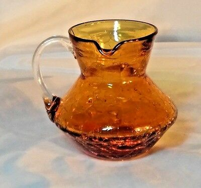 Rare Small Vintage Amber Crackle Glass Pitcher