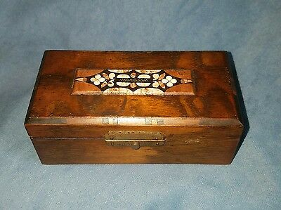Antique pietra dura mosaic stone inlay & wood trinket stamp box