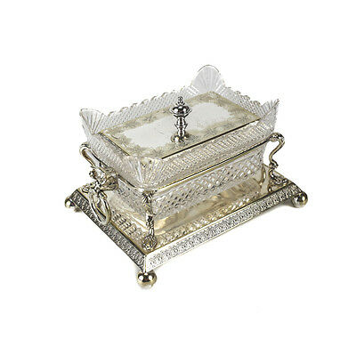 Robert Pringle & Company Silverplate & Cut Crystal Lidded Butter Dish, c.1930