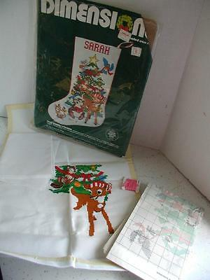 DIMENSIONS 1984 Jolly Animals CROSS STITCH CHRISTMAS STOCKING KIT Part Finished