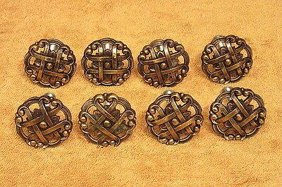 8 Vintage Ornate Brass Drawer Pulls Handles