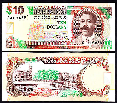 Barbados 10 Dollars $10 2007 P. 68a UNC Note Charles Duncan O'Neal