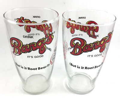 2 Vintage Barq's Root Beer Drink Soda 32Oz Tall Glass New Orleans Louisiana