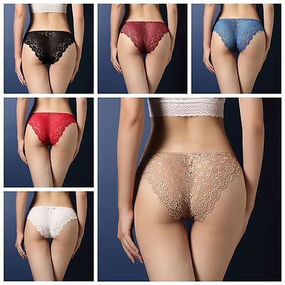 Floral Sexy Hollow Underpants Ultra Thin Lace Panties Low-Rise Knickers