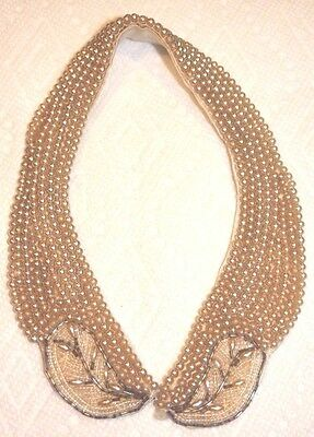 Vintage Elegant Beige and White Pearl Beaded Collar, Satin Backed