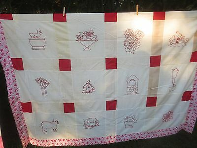 "Antique RED WORK EMBROIDERED Cotton QUILT TOP & UNDERSIDE LAYER - 81"" x 90"""