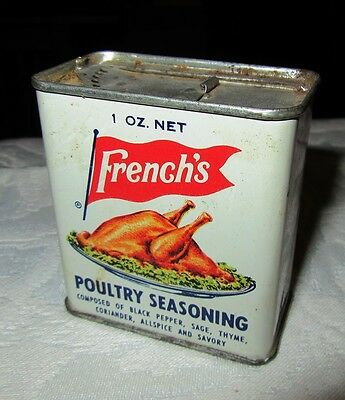 Vintage Metal French's Poultry Seasoning Spice Tin Turkey Picture