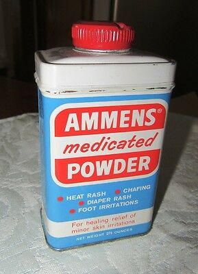 Ammens Medicated Powder - Vintage Tin Can - Original - Contains Powder
