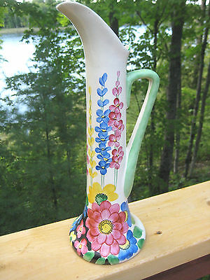 "Vintage Art Deco Style Pitcher Hand Painted 13 "" Tall"