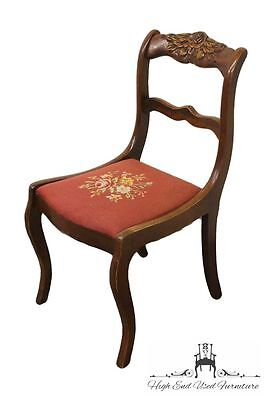 1940's Antique Mahogany Duncan Phyfe Rose Back Chair w/ Needlepoint Seat