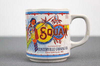 Vintage Squaw Brand Centerville MD June Peas Tea Cup Coffee Mug Indian Girl