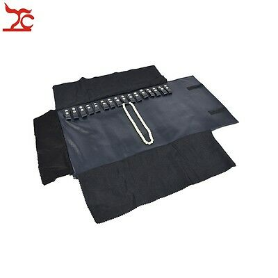 Jewelry Display Navy Leatherette Holder Necklace Oraganizer Travel Roll Bag