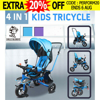 JOLLYKIDDY 4In 1 Kids Toys Baby Reverse Seat Toddler Pram Tricycle Bike Stroller