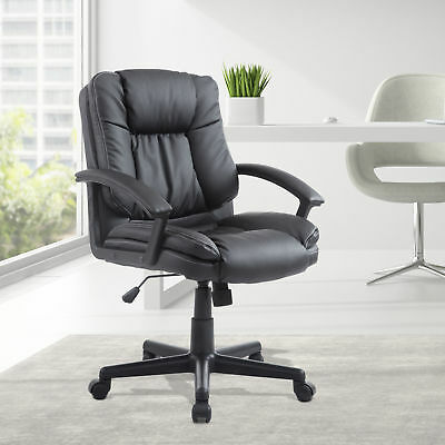 Mid Back PU Leather Executive Office Desk Task Computer Padded Boss Chair Black