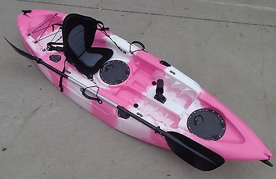 New Sierra Single Fishing Kayak Ocean Kayak Canoe Seat Paddle Pink White Kayak