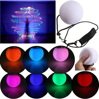 Light Up Poi Balls Pair & Thrown Balls LED Glow for Rave Belly Dancer Prop Tool