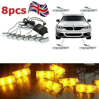 8x2 AMBER RECOVERY STROBE LED LIGHTS ORANGE GRILL BREAKDOWN FLASHING BEACON