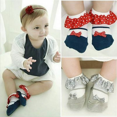 Princess Toddler Baby Short Socks Cotton Dots Bowknot Lace Anti-Slip Slippers