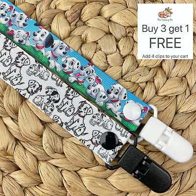Dummy clip Pacifier chain dummie binky baby gift 101 dalmations soother holder