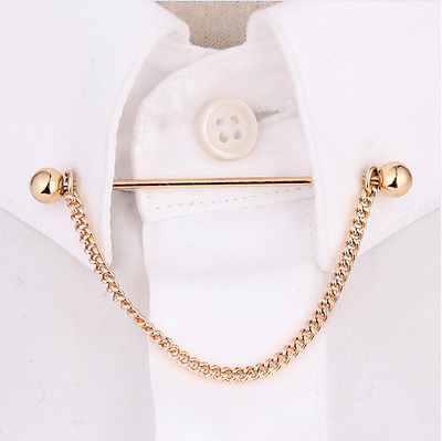 Collar Pin Chain Tie Bar Mens Formal Jewellery Wedding Suit Fashion Style Clip